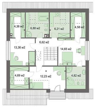 дом 12х12 второй этаж