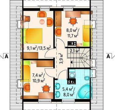 Дом 8х9 второй этаж