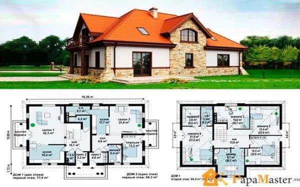 Дом на две семьи с помещениями