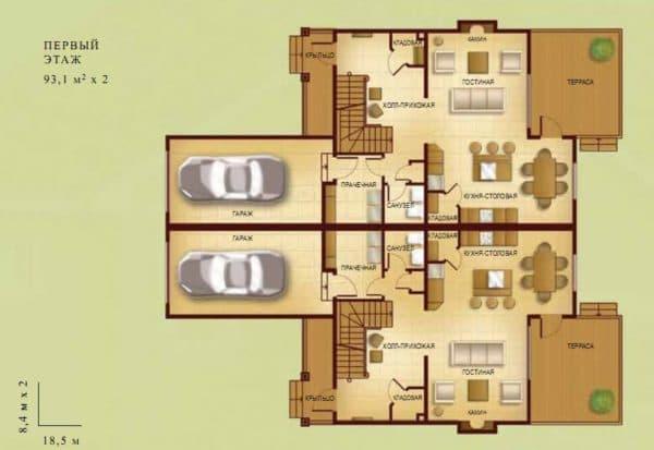 Планировка дома на две семьи с гаражами