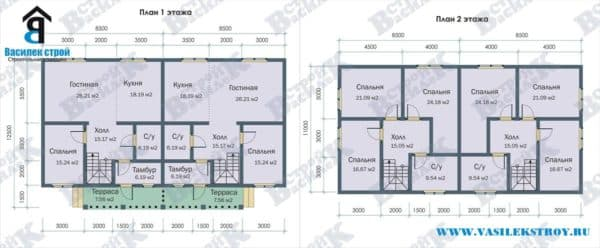 Планировка в двухэтажном доме на две семьи