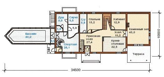 Пример интересной планировки в доме с скандинавским стилем