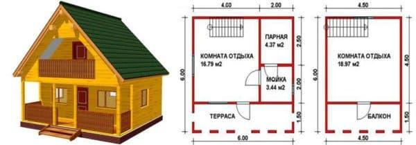 Проект дома бани 6х6