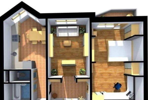 Типовая двухкомнатная квартира в доме серии п 44т