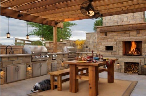 Деревянная мебель для летней кухни