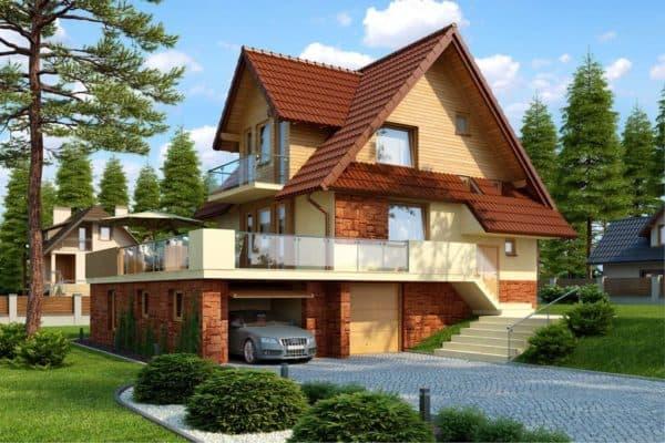 Дом с цокольным этажом и мансардой