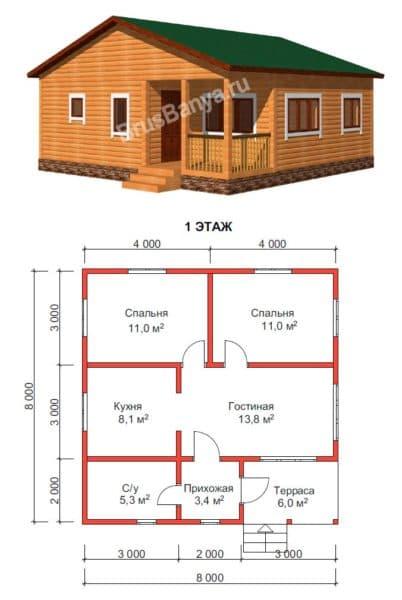 Одноэтажный дом 8 на 8