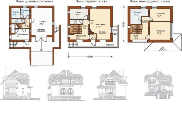 Планировка дома с цокольным этажом и мансардой