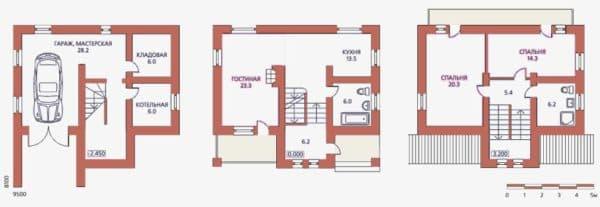 Планировка двухэтажного дома с гаражом и подсобными комнатами на цокольном этаже