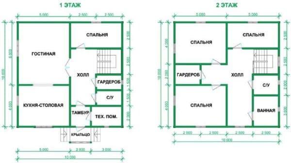 Пример 1. Планировка дома 10 на 10