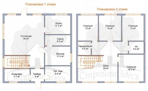 Пример 2. Планировка двухэтажного дома 10х10