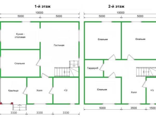 Пример 3. Планировка комбинированного дома