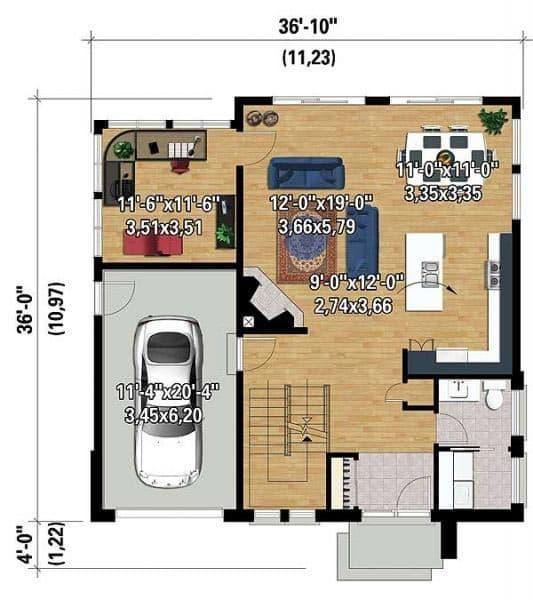 Дом 11 на 11 с гаражом