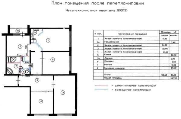 №5. Перепланировка 4-комнатной квартиры