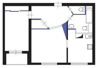 №3. Перепланировка 1-комнатной квартиры