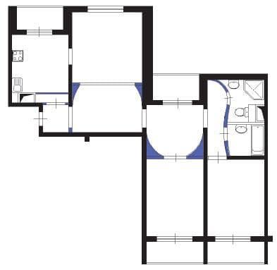 №2. Перепланировка 3-комнатной квартиры