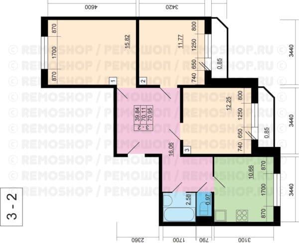 №1. Планировка четырехкомнатной квартиры
