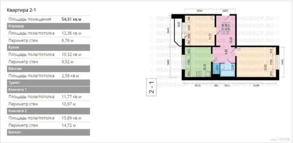 №2. Планировка двухкомнатной квартиры