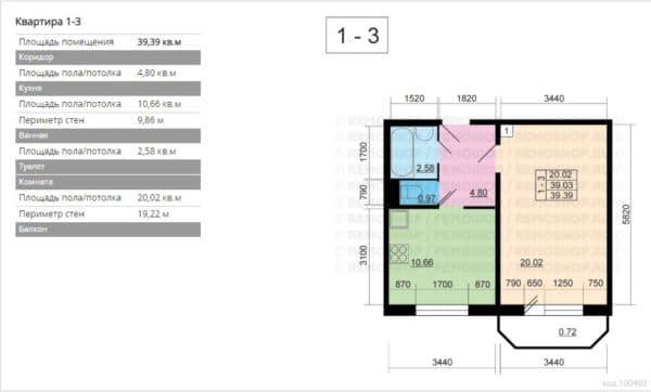 №2.Планировка однокомнатной квартиры