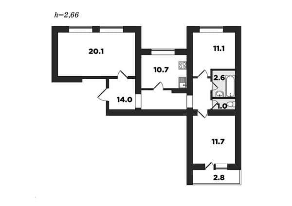 №2. Планировка трехкомнатной квартиры