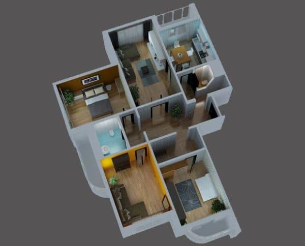 Четырехкомнатная квартира серии п-3мк