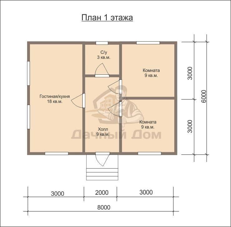 Дом 6х8 с совмещенной кухней и гостиницей
