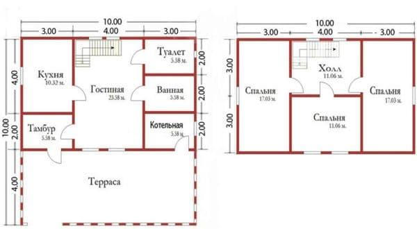 Двухэтажный дом 6х10