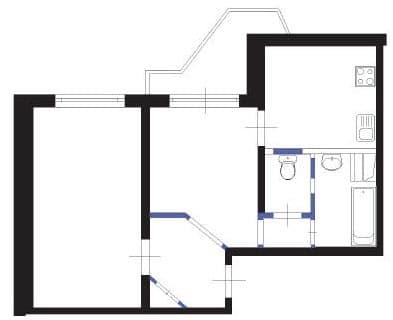 Пример перепланировки двухкомнатной квартиры