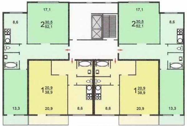 Планировка в домах п-47