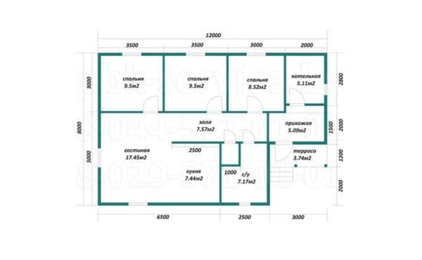Планировка дома 8 на 12