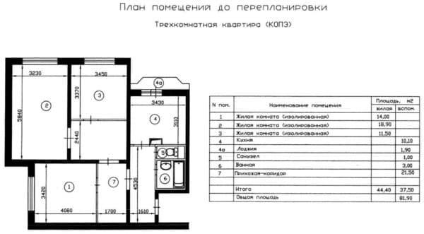 №1. Планировка трехкомнатной квартиры