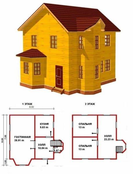 Проект 2. Двухэтажный дом 6х8 с эркером