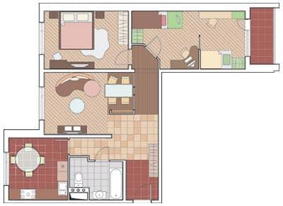 Трехкомнатная квартира в доме КОПЭ-М-Парус