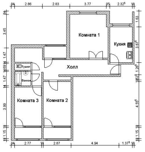 №1. Планировка 3-комнатной квартиры