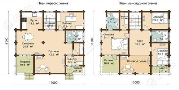 Проект 3. Планировка дома 13х13