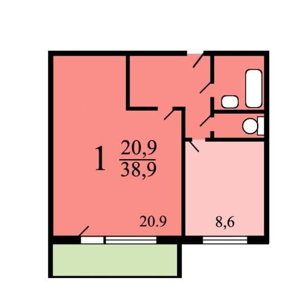 1-комнатная квартира в доме-серии п-46м