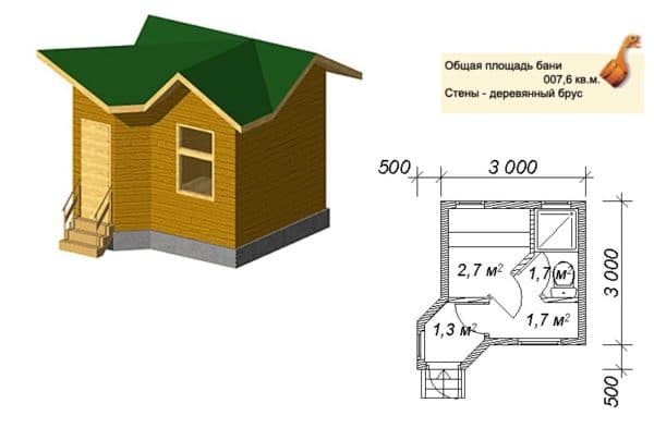 Баня 3х3 проект