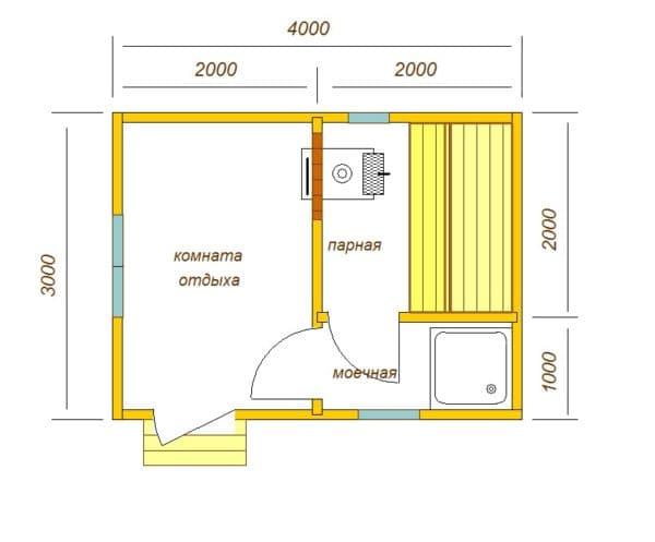 Баня 3х4 планировка