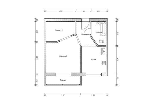 №1. Перепланировка однокомнатной квартиры