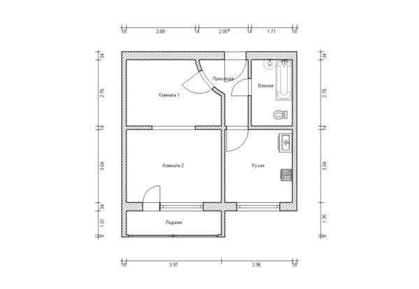 №2. Перепланировка однокомнатной квартиры
