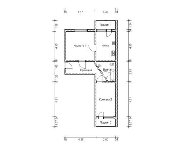 №2. Перепланировка 2-комнатной квартиры