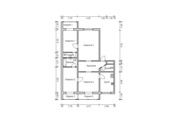 Перепланировка 4-комнатной