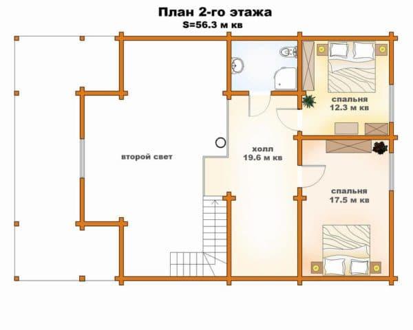 Планировка второго этажа-в доме со вторым светом