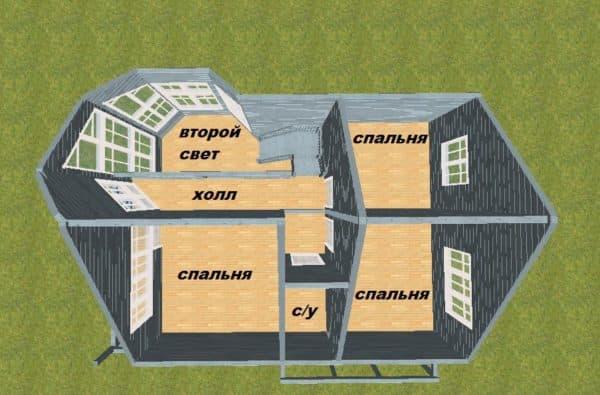 Дом со вторым светом вид сверху