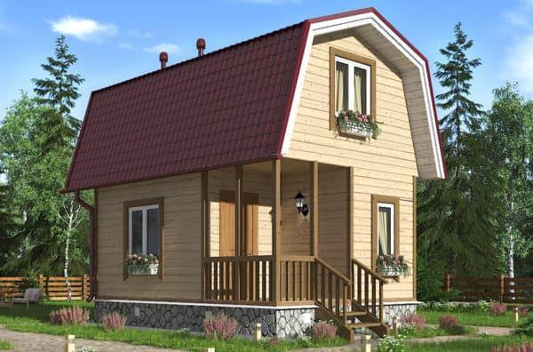 Дачный дом 4 на 4 с мансардой