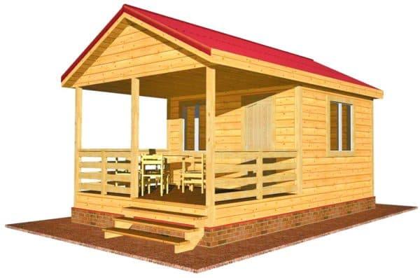 Дачный дом 4 на 4 с террасой