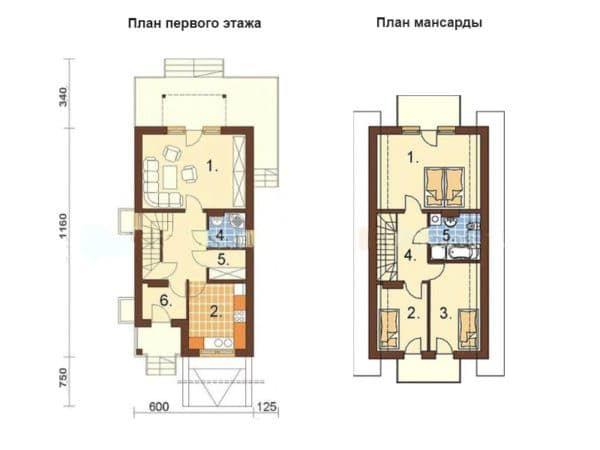 Дом с мансардой план