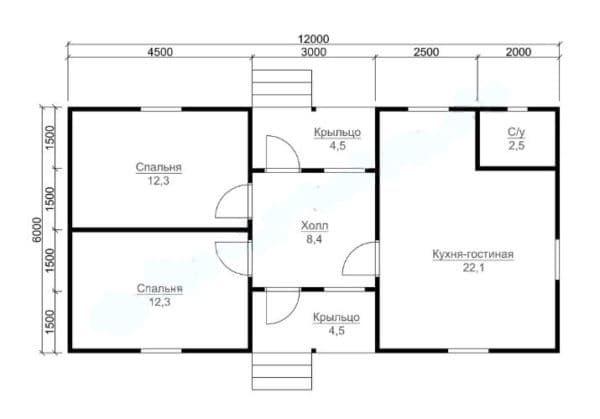 Планировка одноэтажного дома 6 на 12