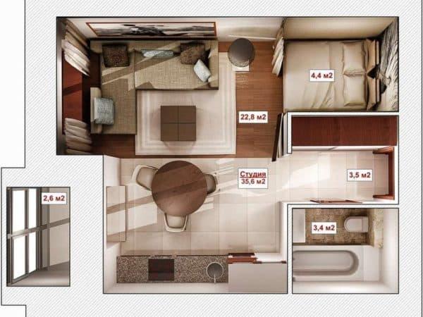 Планировка квартиры 35 кв. м_2