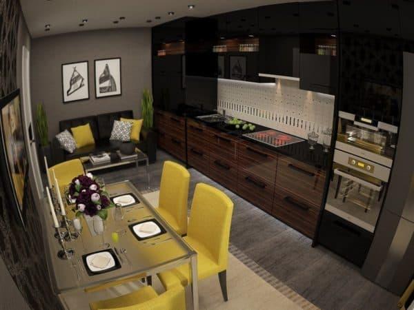 серо-коричневая кухня-гостиная